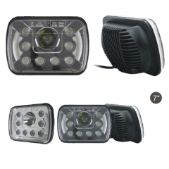 7 Inch Square LED Headlight for Trucks 55W 6000K 3W High Power LED 15Leds 3500LM 12V IP65 High Low Beam