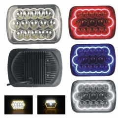 7 Inch Square LED Headlight for Trucks 45W 6000K 3W High Power Angel Eyes LED 15Leds 2900LM 12V IP65 High Low Beam